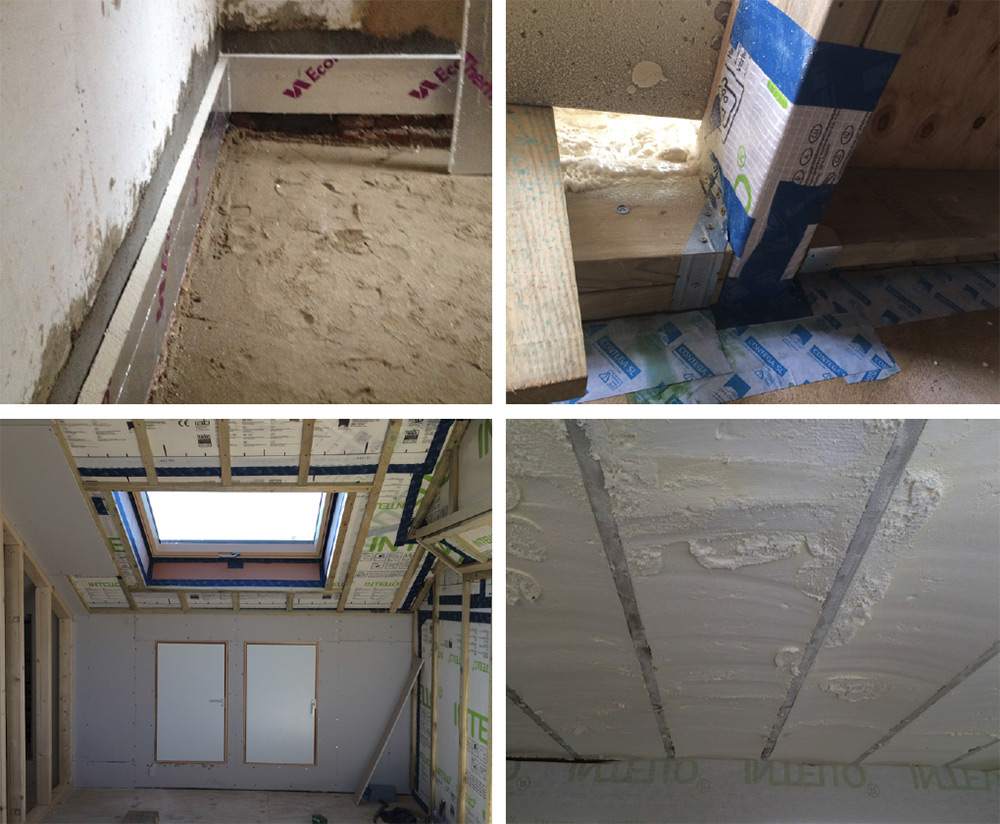 (clockwise from top left) the ground floor was excavated and rigid insulation placed around the perimeter to cut thermal bridging here; airtightness taping around joist ends; new roof rafters insulated with Icynene spray foam insulation; airtightness detailing to the roof, with Pro Clima Intello membrane under internal battening.