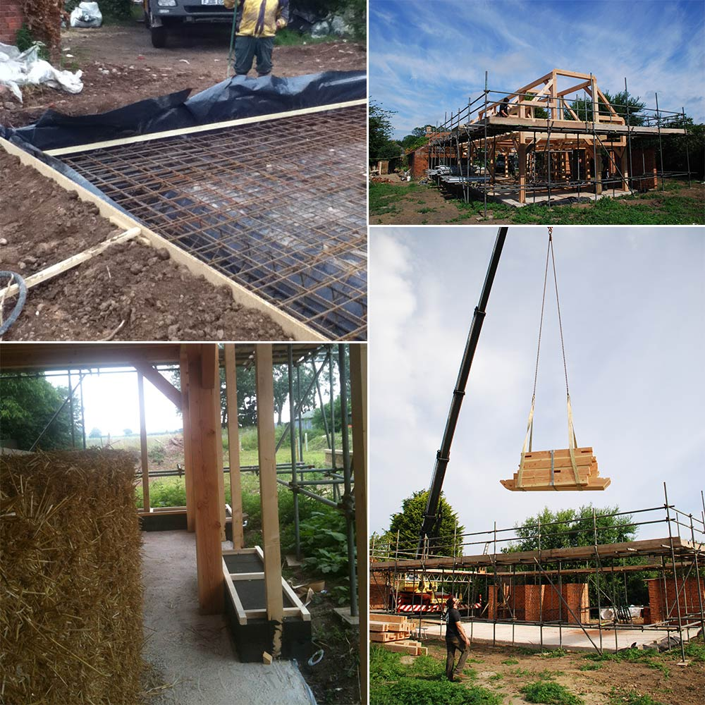 (Clockwise from top left) concreting of the raft foundation, which was insulated with 350mm of EPS; erection of the primary timber frame, which supports the roof and first floor windows; Foamglas insulation was installed at the edge of the raft foundations to prevent thermal bridging here; the timber frame being craned into place on site.