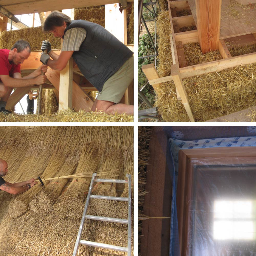 (Clockwise from top left) hazel pins in the straw-bale walls; infill bales around the timber frame structure at first floor level; thatching of the roof by Norfolk Thatchers, who used local reed thatch; Isolair woodfibre insulation and airtightness detailing around windows prior to rendering.