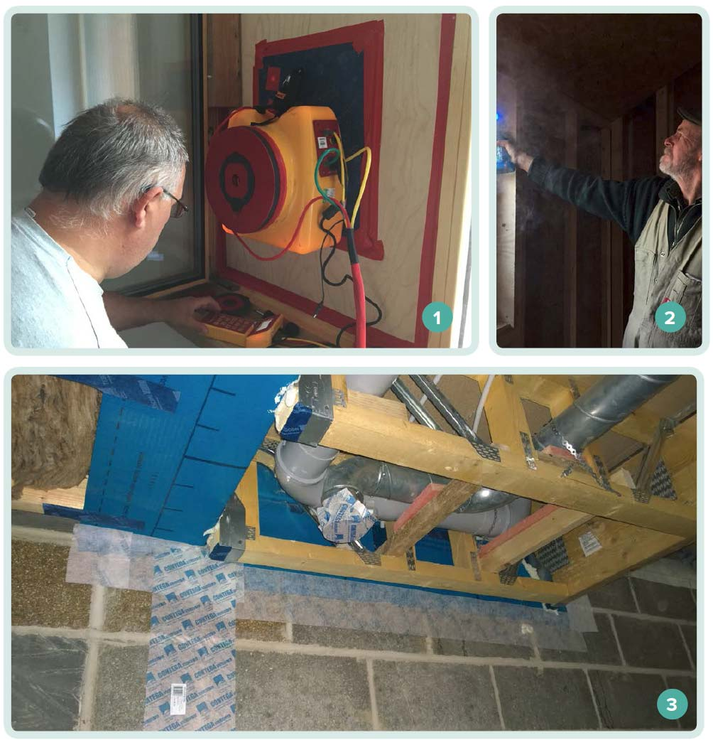 1 Paul Jennings conducting a blower door test to check a building's airtightness; 2 builder Mike Whitfield using a smoke pencil to look for air leaks; 3 sealing of a ventilation duct prior to a building's airtightness test.