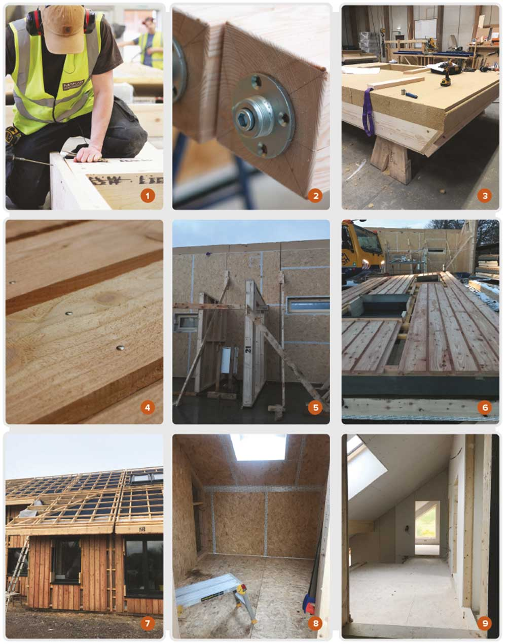 The Makar prefabricated timber frame system being built in their workshop, showing 1 the frame, 2 the postbase, 3 the roof panel, and 4 the cladding; 5 & 6 assembly of the frame on-site; 7 the panels are built complete with insulation, doors, windows, roof and cladding; 8 18 mm OSB board was used as an internal airtight layer, and taped at all junctions; 9 the walls are fi nished inside with plasterboard enclosing a woodfi bre-insulated service cavity.