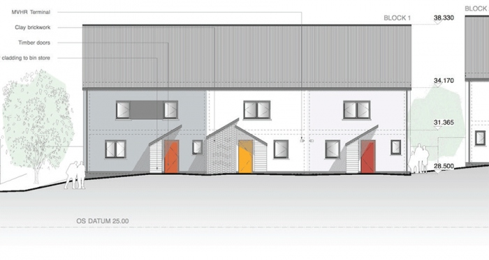 Site plans and elevations of some of the new Gale & Snowden designed passive house plus dwellings for Bristol City Council